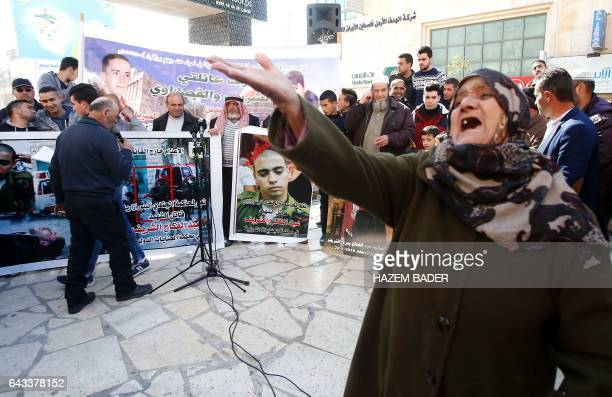 A Palestinian woman reacts during a demonstration following a verdict in the trial of the Israeli soldier Elor Azaria who in March 2016 shot dead...