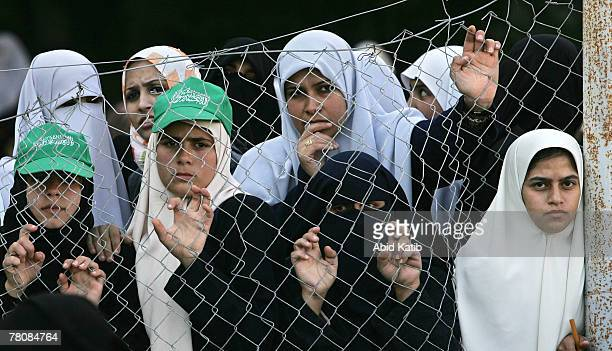 Palestinian women attend a female rally organized by the Hamas movement against this week's Middle East peace conference in Annapolis November 25...