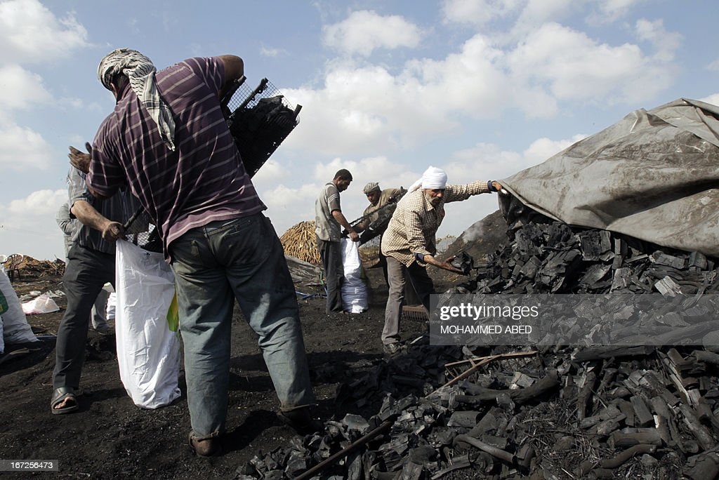 Palestinian workers load coal into bags at one of the few local charcoal manufacturing plants east of Gaza City on April 23, 2013.