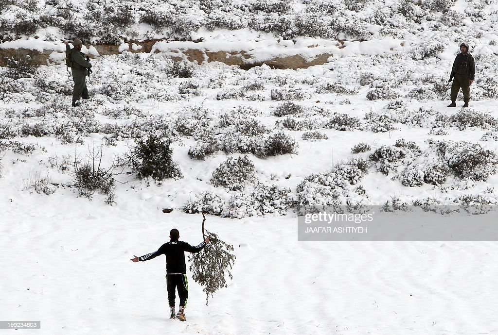 A Palestinian youth holds a branch of an olive tree as he gestures near Israeli forces after Israeli settlers from the nearby Esh Kodesh settlement cut Palestinian farmers' trees on January 10, 2013 in village of Qusra, south of the city of Nablus. Israeli settlers opened fire in the northern West Bank wounding two Palestinians in separate incidents, Palestinian security forces and witnesses said. AFP PHOTO/JAAFAR ASHTIYEH