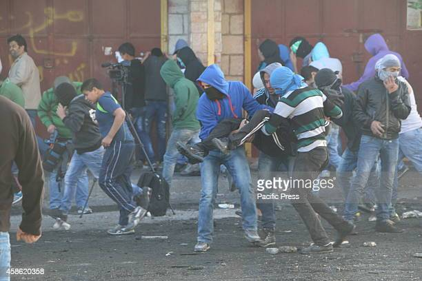 Palestinian youth injured in the leg during riot of rocks and rubber bullets this comes after the Palestinian car attacker was killed in Jerusalem...