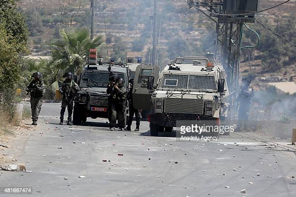 Palestinians and Israeli security forces clash after the funeral of Palestinian Hamdi Ebu Mariye who killed by Israeli shots in Beyt Emr West Bank on...