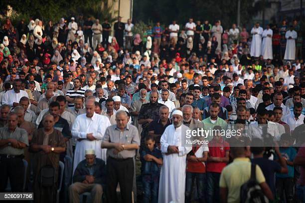 Palestinians attends Eild alAdha prayers on Sept 24 2015 in Gaza City Eid alAdha or Feast of the Sacrifice marks the end of the annual pilgrimage to...