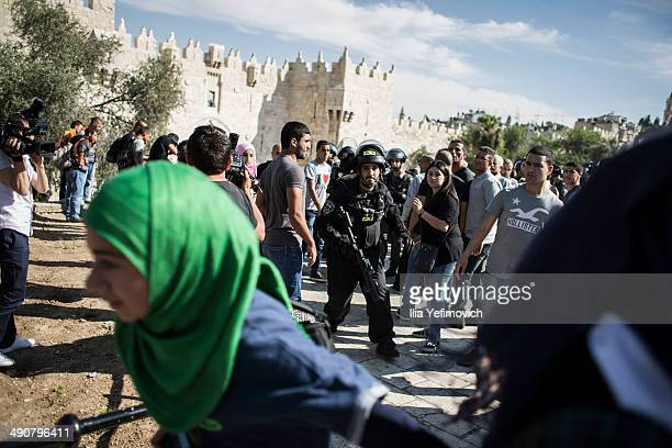 Palestinians clash with Police during a rally marking Nakba day on May 15 2014 outside Damascus gate in Jerusalem Israel Palestinians mark Israel's...