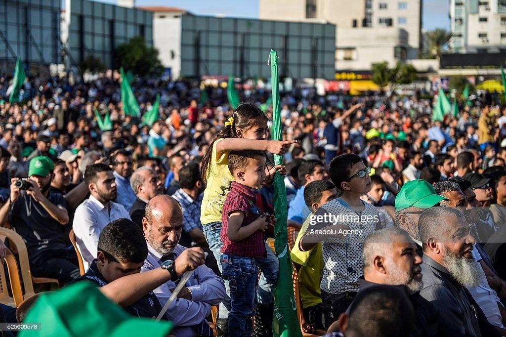 Palestinians listen to Hamas Political Bureau Vice President Ismail Haniyeh during a festival in Gaza City, Gaza on April 28, 2016.