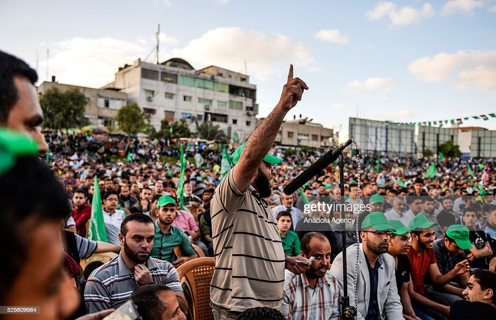 Palestinians listen to Hamas Political Bureau Vice President Ismail Haniyeh during a festival in Gaza City, Gaza on April 28, 2016.