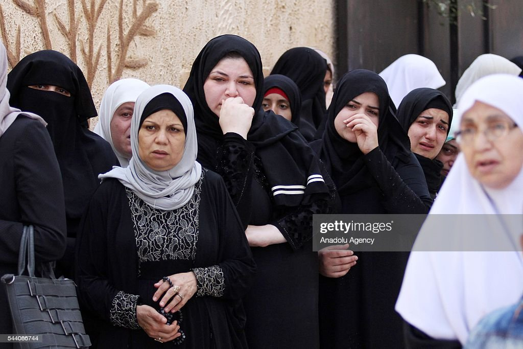 Palestinians mourn for Sondos Al- Basha who lost his life during a terrorist attack at the Ataturk International Airport in Istanbul, during a funeral ceremony in Qalkilya district of West Bank on July 1, 2016.