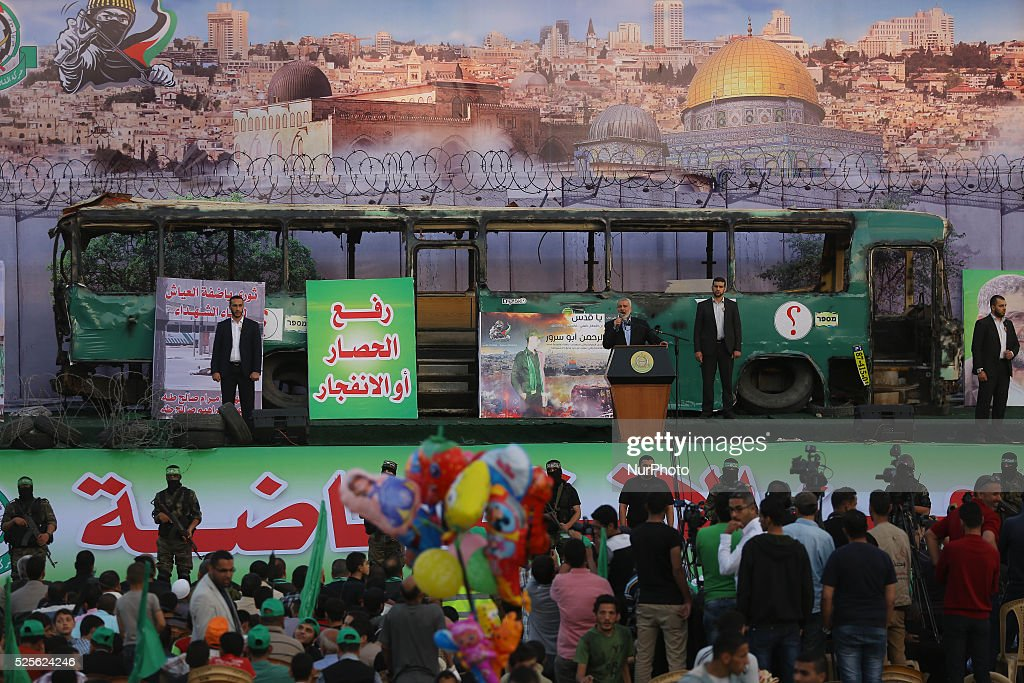 Palestinians supporter of the Islamist movement Hamas during an anti-Israel rally in Gaza City, on April 28, 2016.