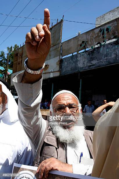 Palestinians take part during a rally marking the 'Nakba' in Rafah town in the southern Gaza Strip Nakba means in Arabic 'catastrophe' in reference...