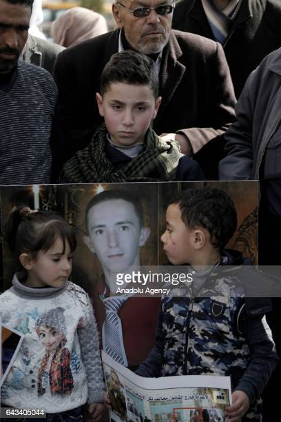 Palestinians take part in a demonstration in support of Israeli soldier Elor Azaria who killed Palestinian AbdulFattah Sharif in Hebron West Bank on...