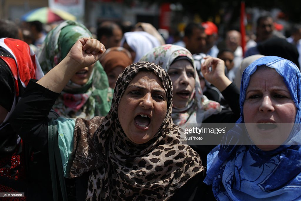 Palestinians take part in a rally marking International Workers' Day, or Labour Day, in Gaza City May 1, 2016.