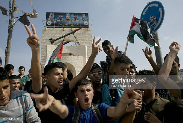 Palestinians take part in an antiIsrael protest in the southern Gaza Strip town of Rafah on October 13 as a wave of stabbings has hit Israel...