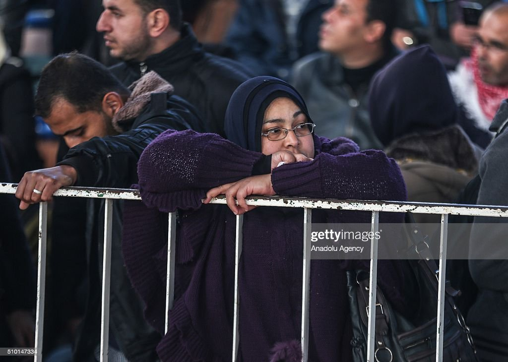 Palestinians wait to cross into Egypt at Rafah border crossing on the border between Egypt and the Gaza Strip in Rafah, Gaza on February 14, 2016. Egyptian Authority has opened the border-crossing bilaterally. The border-crossing is the one and only gate for Gaza Strip where is still ongoing Israeli blockade.