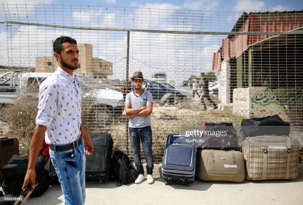 Palestinians waiting to cross the Rafah Border crossing , in Rafah in the southern Gaza Strip, on August 16, 2017.