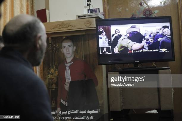 Palestinians watch trial of Israeli soldier Elor Azaria who killed Palestinian AbdulFattah Sharif in Hebron West Bank on February 21 2017 Elor Azaria...