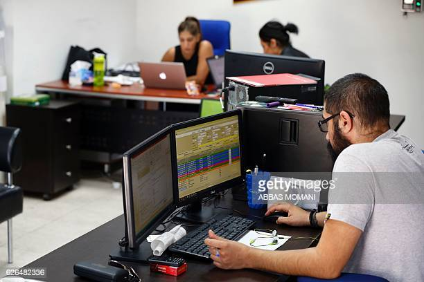 Palestinians work at the office of Red Crow a startup that monitors security developments and sends realtime alerts and maps to clients in Ramallah...