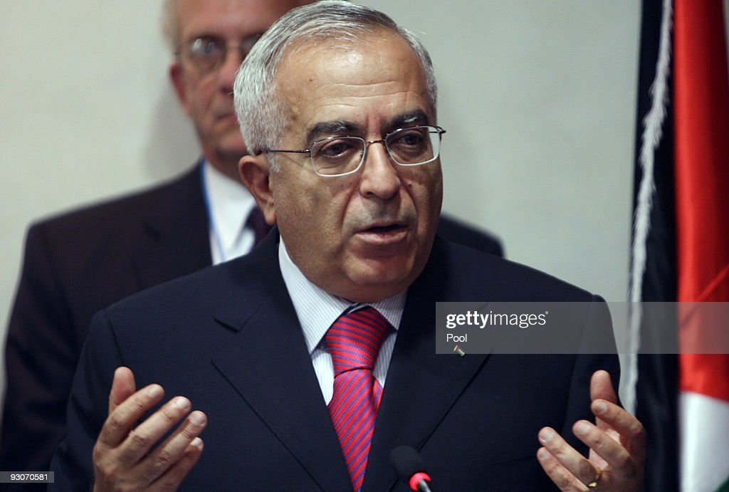 Palestnian Prime Minister <a gi-track='captionPersonalityLinkClicked' href=/galleries/search?phrase=Salam+Fayyad&family=editorial&specificpeople=2162597 ng-click='$event.stopPropagation()'>Salam Fayyad</a> speaks during a press conference with U.S. Sen. Joe Lieberman (I-CT) after their meeting on November 15, 2009 in Ramallah, West Bank. Ten months into his administration, President Barack Obama has so far failed to coax the Israelis and Palestinians back to negotiations despite intensive diplomatic efforts on one of his top foreign policy priorities.