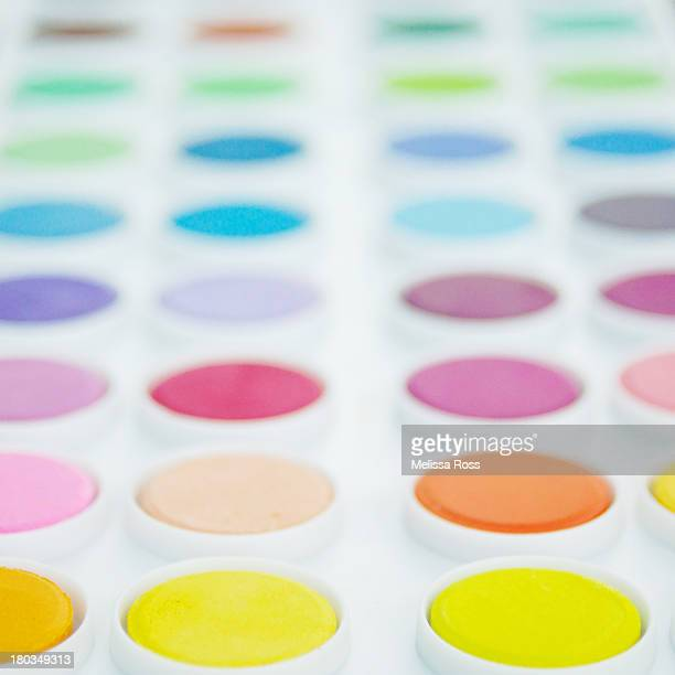 Palette of watercolor paints or cakes.