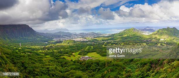Pali Lookout overlooking Kaneohe valley, O'ahu