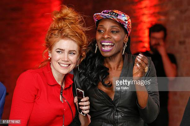 Palina Rojinski and Nikeata Thompson attend the Zalando Spring Summer 2016 Collection Launch with Anna Ewers on March 15 2016 in Berlin Germany