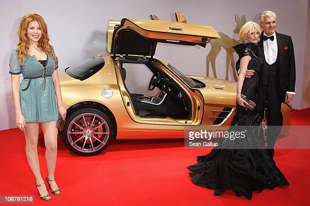 Palina Rojinski and Sky du Mont with wife Mirja arrive for the Bambi 2010 Award at Filmpark Babelsberg on November 11 2010 in Potsdam Germany