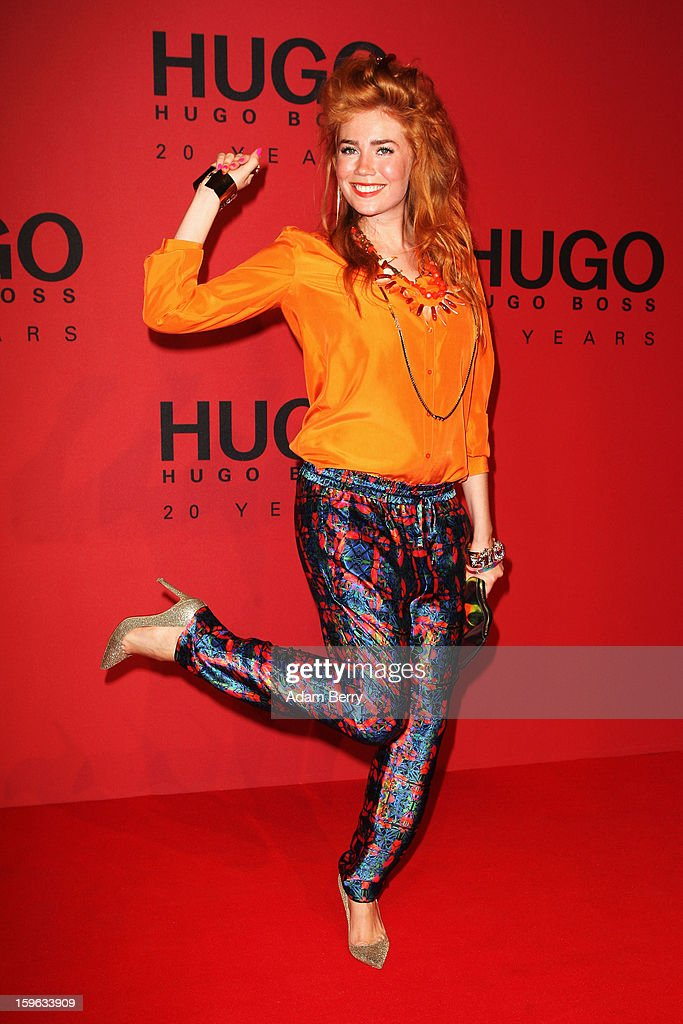 Palina Rojinski attends Hugo By Hugo Boss Autumn/Winter 2013/14 fashion show during Mercedes-Benz Fashion Week Berlin at The Brandenburg Gate on January 17, 2013 in Berlin, Germany.
