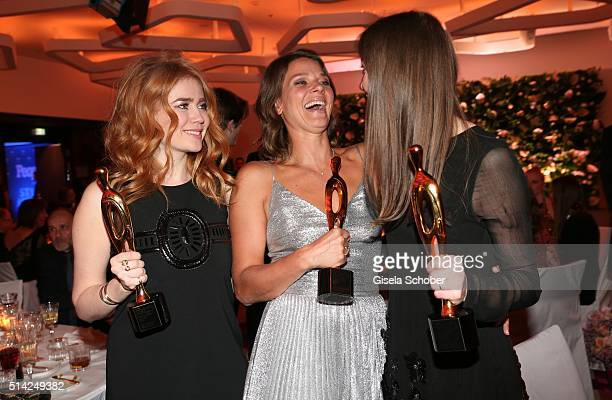 Palina Rojinski Jessica Schwarz and Alexandra Maria Lara with award during the PEOPLE Style Awards at Hotel Vier Jahreszeiten on March 7 2016 in...