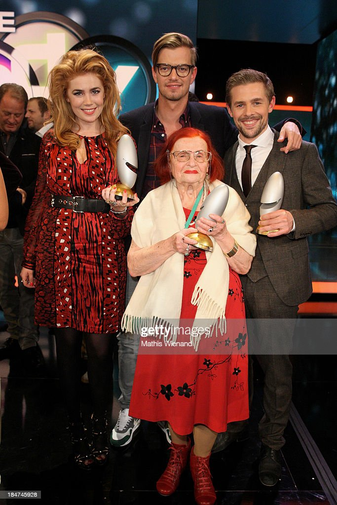 Palina Rojinski, Joachim Winterscheidt, Oma Violetta and <a gi-track='captionPersonalityLinkClicked' href=/galleries/search?phrase=Klaas+Heufer-Umlauf&family=editorial&specificpeople=4275090 ng-click='$event.stopPropagation()'>Klaas Heufer-Umlauf</a> attend the 17th Annual of the German Comedy Awards at Coloneum on October 15, 2013 in Cologne, Germany.