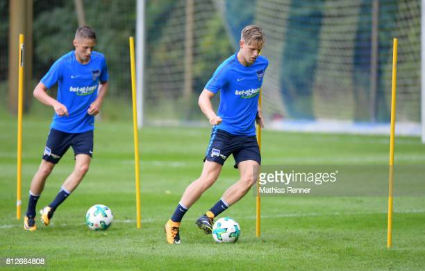 Palko Dardai and Arne Maier of Hertha BSC during the training camp of Hertha BSC on july 11 2017 in Bad Saarow Germany