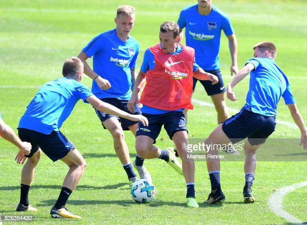 Palko Dardai Ondrej Duda Vladimir Darida and Julius Kade of Hertha BSC during the training camp on August 4 2017 in Schladming Austria