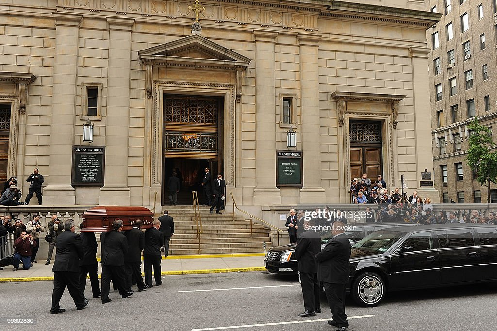 Pall bearers carry the casket of late singer/actress Lena Horne into the Church of St. Ignatius Loyola on May 14, 2010 in New York, New York.
