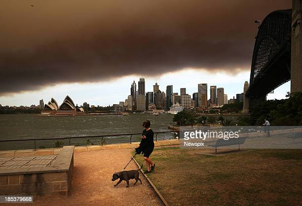 A pall of smoke hanging over the city of Sydney New South Wales caused by bushfires burning out of control in the Blue Mountains on October 17 2013...