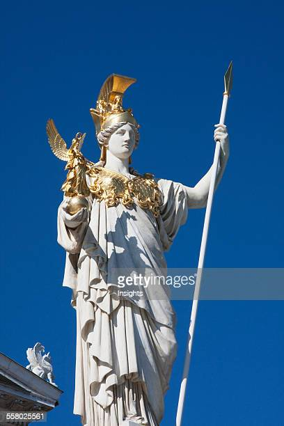 Pallas Athena statue in the Athenebrunnen fountain in front of the Parliament building Vienna Austria