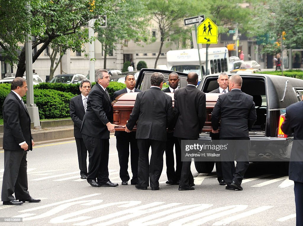 Pallbearers carry the casket of entertainer Lena Horne at St. Ignatius Loyola Church on May 14, 2010 in New York City.