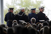 Pallbearers carry the casket of former first lady Nancy Reagan during funeral services at the Ronald Reagan Presidential Library March 11 2016 in...