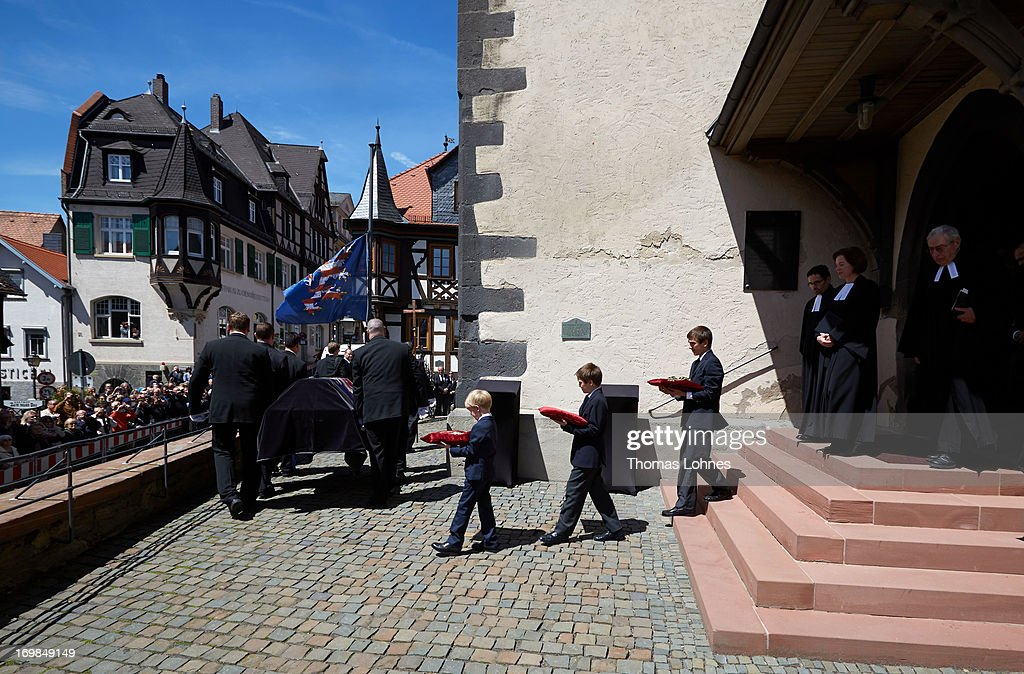 Pallbearers carry the coffin of Moritz Landgrave of Hesse out of Johanniskirche during the funeral service on June 3, 2013 in Kronberg, Germany. Moritz of Hesse died aged 86 years on May 23 in Frankfurt. A great-grandson of the Emperor Frederick III and great-grandson of Queen Victoria, he was related to many European royal families.