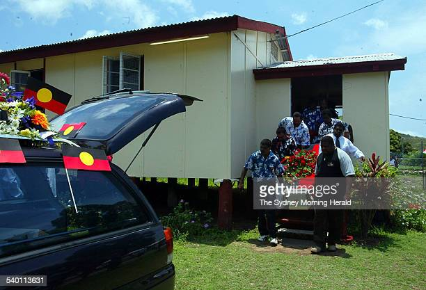 Pallbearers leave the church before heading to the cemetery during the funeral of Cameron Doomadgee who died in custody on Palm Island Queensland 11...