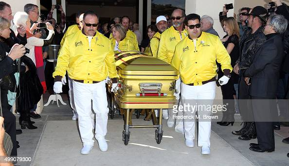 Pallbearers Richie Valles Joji Barris daughter and son Jared Barris during George Barris Celebration of Life Memorial and Burial Service at Forrest...