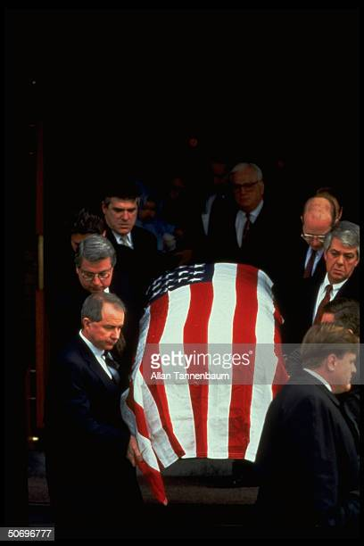 Pallbears carrying coffin of Unabomber victim Thomas Mosser ad exec killed by parcel bomb sent to his home on December 10 1994