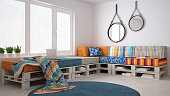 DIY pallet couch sofa, scandinavian white living, interior design