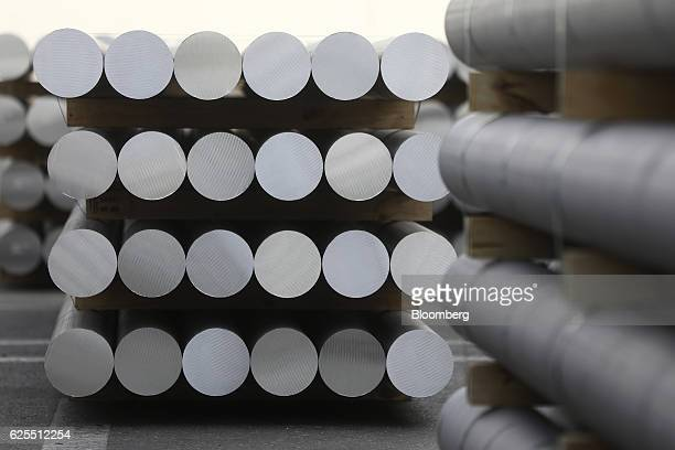 Pallets of aluminium billets sit outside the aluminium processing plant at the Ras Al Khair Industrial City operated by the Saudi Arabian Mining Co...
