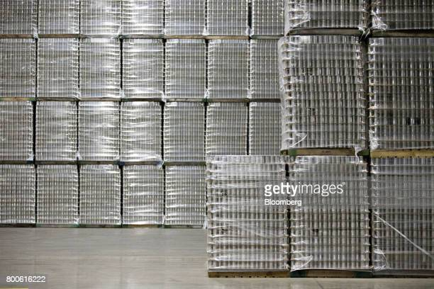 Pallets of canned vegetables sit stacked at the Del Monte Foods Inc facility in Mendota Illinois US on Friday June 23 2017 The facility processes...