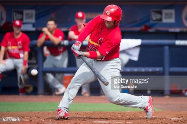 Palm Beach Cardinals Catcher Jose Godoy bats during the first game of a double header MiLB minor league baseball game between the Palm Beach...