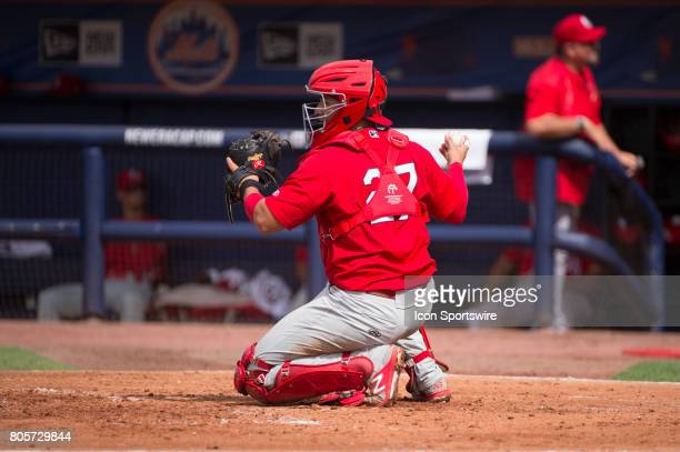 Palm Beach Cardinals Catcher Jose Godoy during the first game of a double header MiLB minor league baseball game between the Palm Beach Cardinals and...