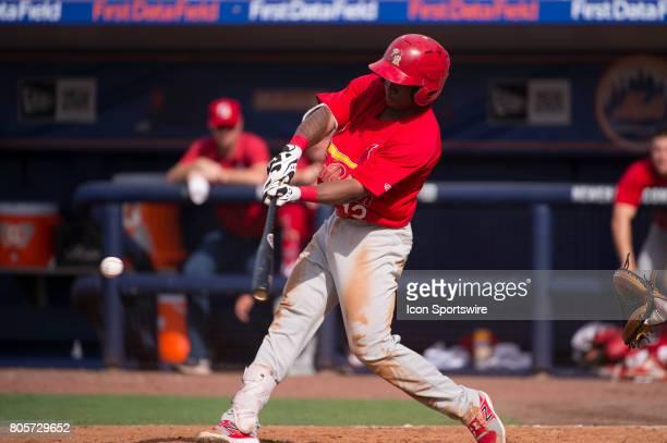 Palm Beach Cardinals Infeileder Darren Seferina bats during the first game of a double header MiLB minor league baseball game between the Palm Beach...