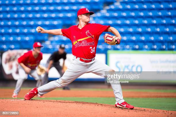 Palm Beach Cardinals Pitcher Connor Jones throws the ball from the mound during the first game of a double header MiLB minor league baseball game...
