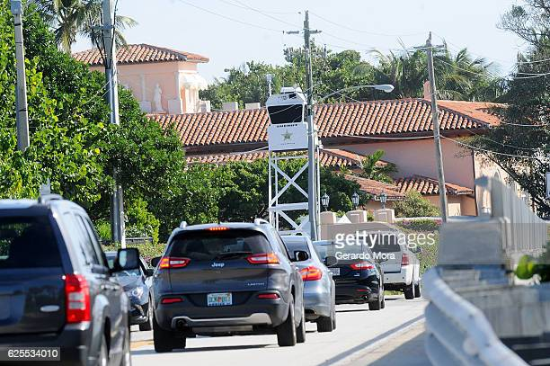 Palm Beach County Sheriff security tower watches over local trafic at MaraLago Resort where Presidentelect Donald Trump stays for Thanksgivin on...