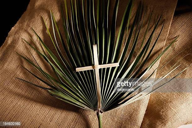 Palm cruce y hoja de arpillera