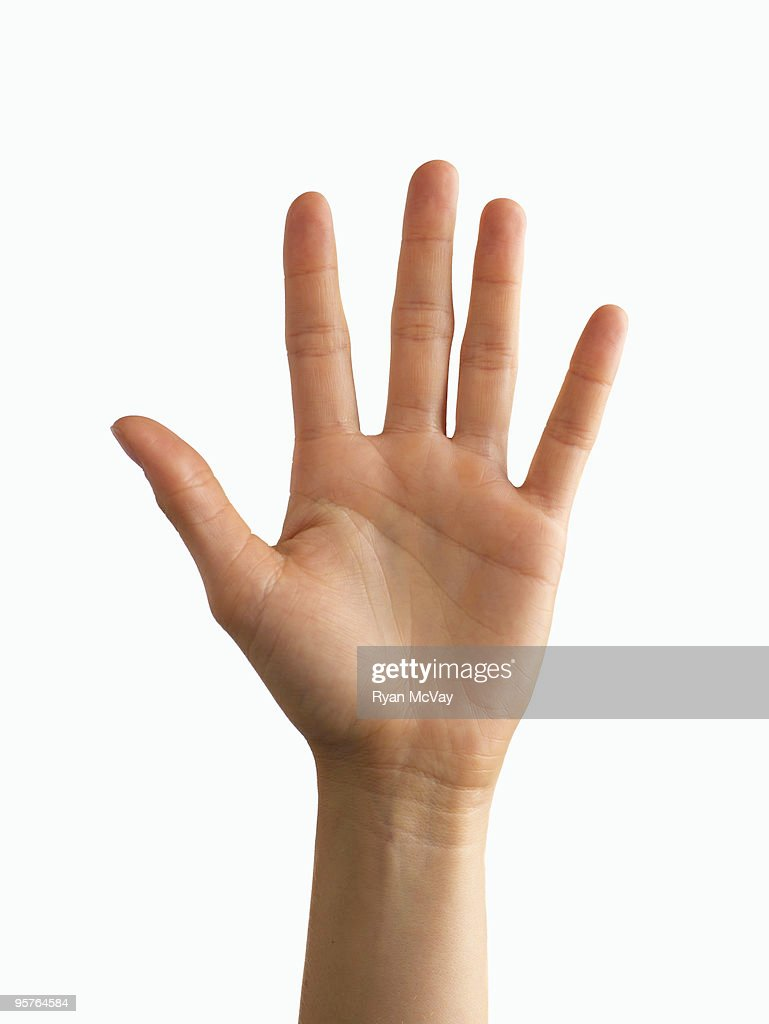 palm of woman's hand on white