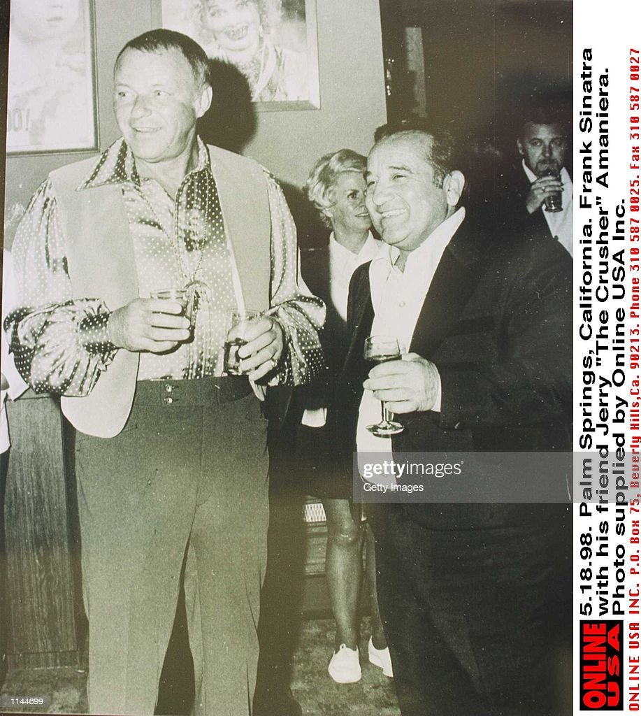 51898 Palm Springs California Frank Sinatra with friend Jerry 'The Crusher' Amaniera who has been told by Barbara Sinatra to stay away from Frank's...